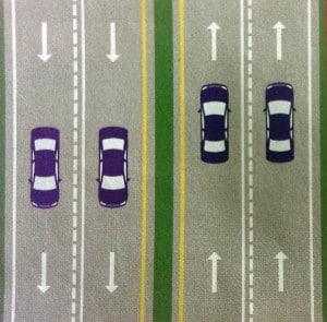 Zeichnung einer mehrspurige Straße in den USA.