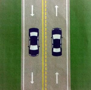 Zeichnung einer Zweispurigen Autobahn in den USA.