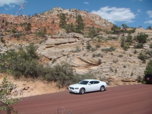 Dodge Charger Mietwagen im Zion Nationalpark USA