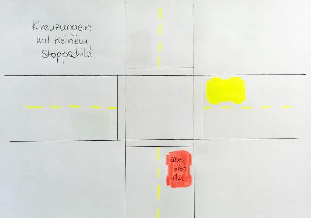 Amerikanische Kreuzung ohne Stoppschilder als Zeichnung.