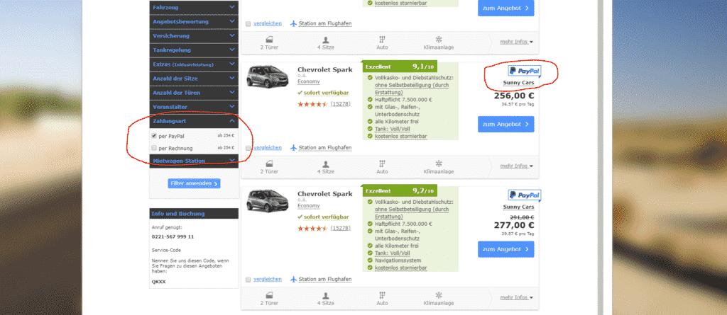 Zahlungsart für die Buchung des USA Mietwagen