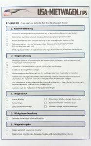 USA Mietwagen Checkliste