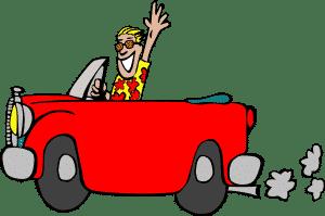 Mann mit Hawaii-Hemd sitzt in einem roten Cabrio als Comic-Version.