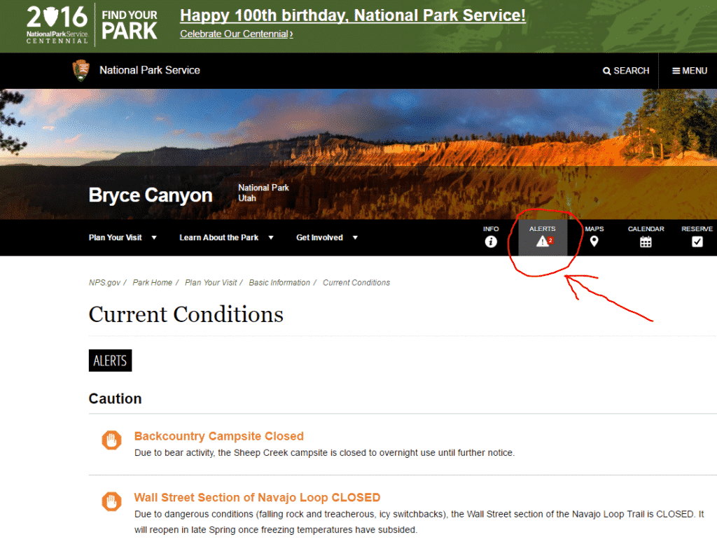 Bryce Canyon Nationalpark Alerts mit Pfeil.