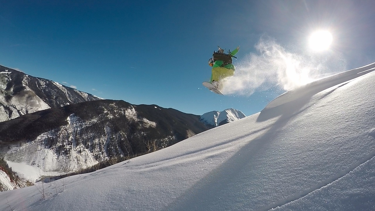 Snowboarden in den Rocky Mountains