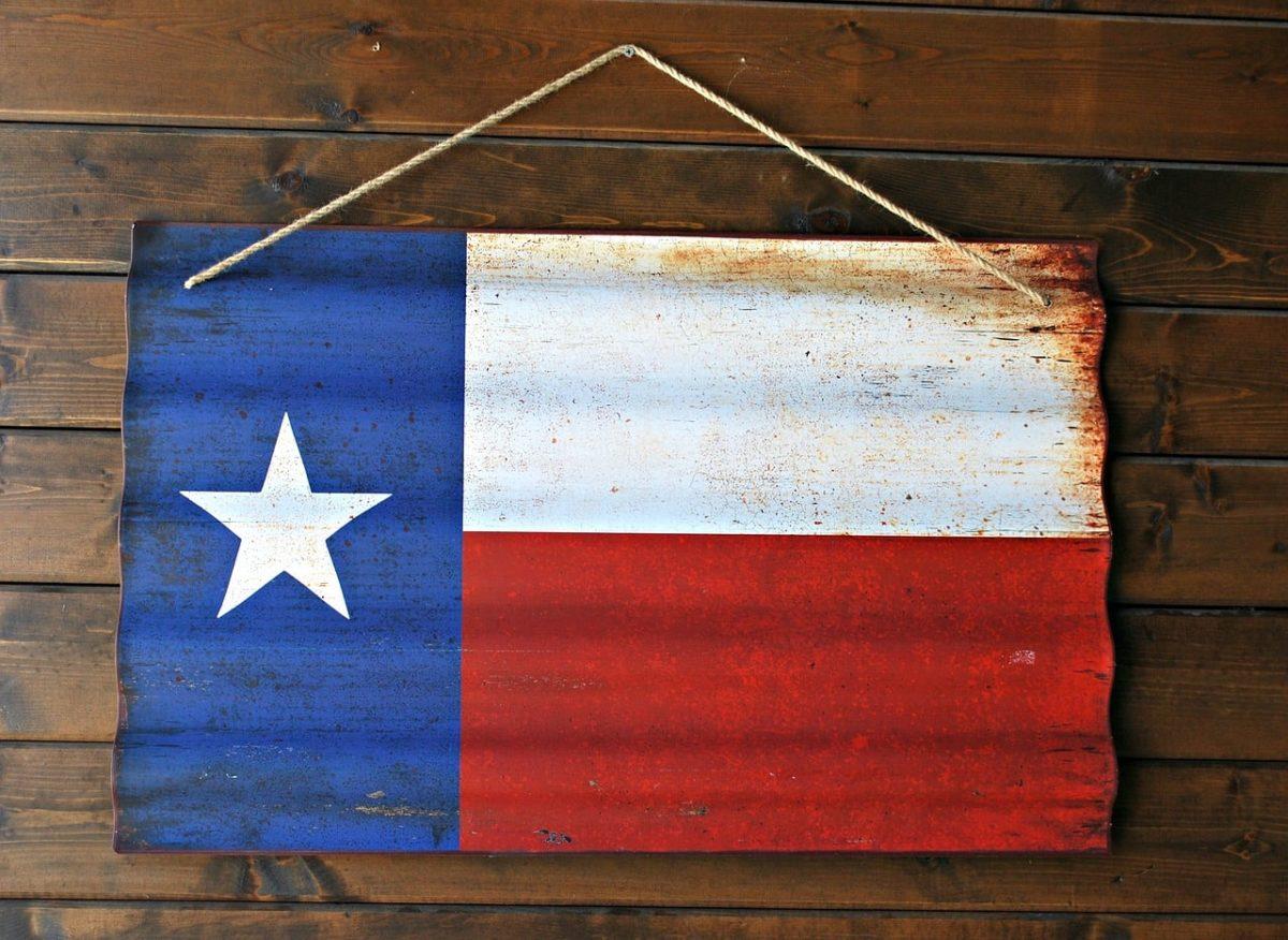 Texas Bundesflagge als Holzschild.