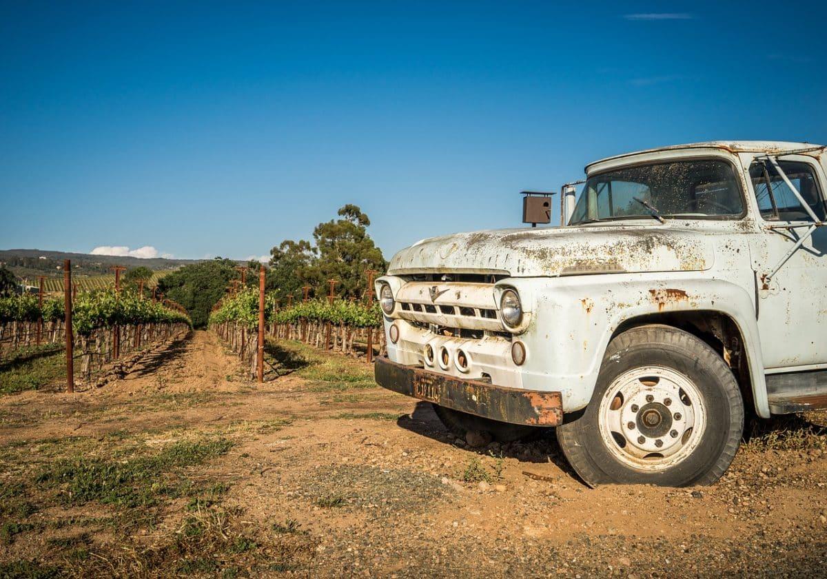 Oldtimer auf einem Weingut in Texas.